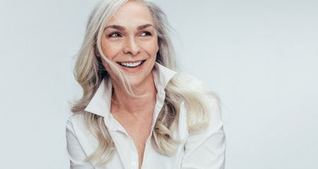 mature woman with dentures